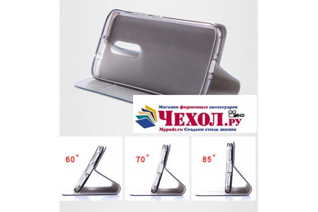 Фирменный чехол-книжка с визитницей и мультиподставкой на жёсткой металлической основе для ASUS ZenFone AR ZS571KL 5.7 серый из настоящей джинсы