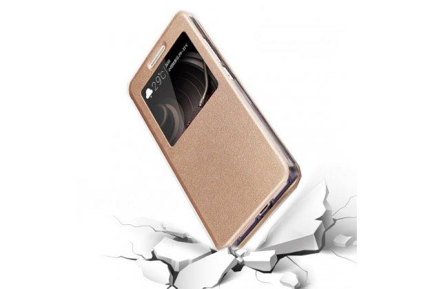 Фирменный оригинальный чехол-книжка из качественной импортной кожи с окном для входящих вызовов  для ASUS ZenFone AR ZS571KL золотой