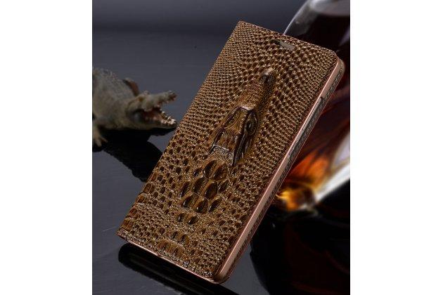 Фирменный роскошный эксклюзивный чехол с объёмным 3D изображением кожи крокодила коричневый для ASUS ZenFone AR ZS571KL . Только в нашем магазине. Количество ограничено