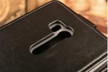 """Фирменный оригинальный вертикальный откидной чехол-флип для ASUS ZenFone Go ZB551KL  / Go TV ZB551KL 5.5"""" черный кожаный"""