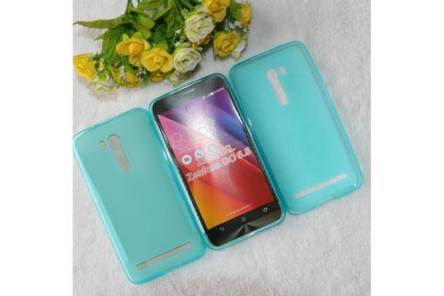 """Фирменная ультра-тонкая силиконовая задняя панель-чехол-накладка для ASUS ZenFone Go ZB551KL  / Go TV ZB551KL 5.5"""" голубая"""