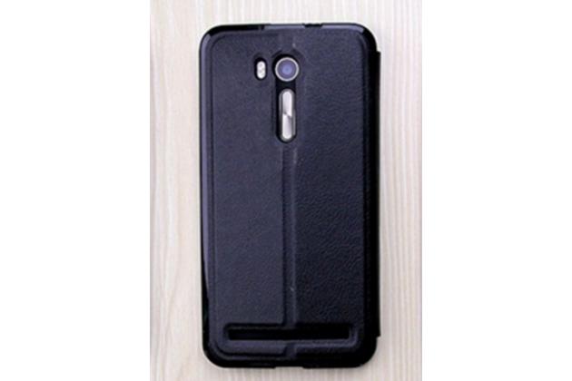 """Фирменный оригинальный чехол-книжка для ASUS ZenFone Go ZB551KL  / Go TV ZB551KL 5.5"""" черный с окошком для входящих вызовов водоотталкивающий"""
