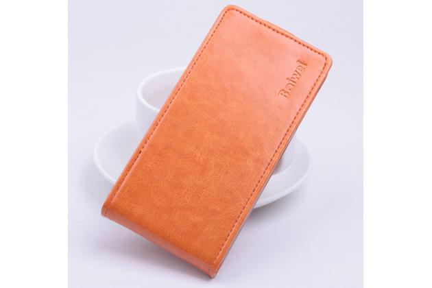 """Фирменный оригинальный вертикальный откидной чехол-флип для ASUS ZenFone Go ZB551KL  / Go TV ZB551KL 5.5"""" оранжевый кожаный"""