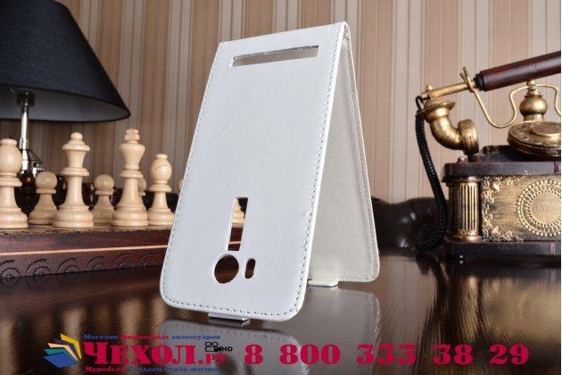 """Фирменный оригинальный вертикальный откидной чехол-флип для  ASUS ZenFone Go ZB552KL 5.5"""" белый из натуральной кожи Prestige"""