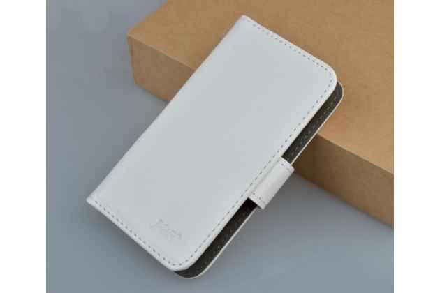 """Фирменный чехол-книжка из качественной импортной кожи с подставкой застёжкой и визитницей для ASUS ZenFone Go ZB552KL 5.5"""" белый"""