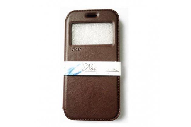 """Фирменный оригинальный чехол-кейс из импортной кожи для ASUS Zenfone Selfie ZD551KL 5.5"""" с умным окном коричневый"""