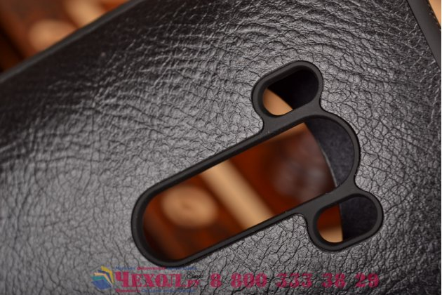 """Фирменный оригинальный чехол-кейс из импортной кожи Quick Circle для ASUS Zenfone Selfie ZD551KL 5.5"""" с умным окном черный"""