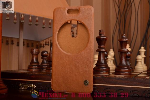"""Фирменный оригинальный чехол-кейс из импортной кожи Quick Circle для ASUS Zenfone Selfie ZD551KL 5.5"""" с умным окном коричневый"""