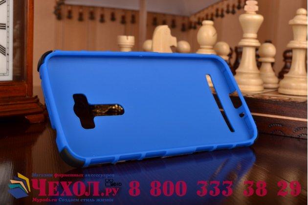 Противоударный усиленный ударопрочный фирменный чехол-бампер-пенал для  ASUS ZenFone Selfie ZD551KL синий