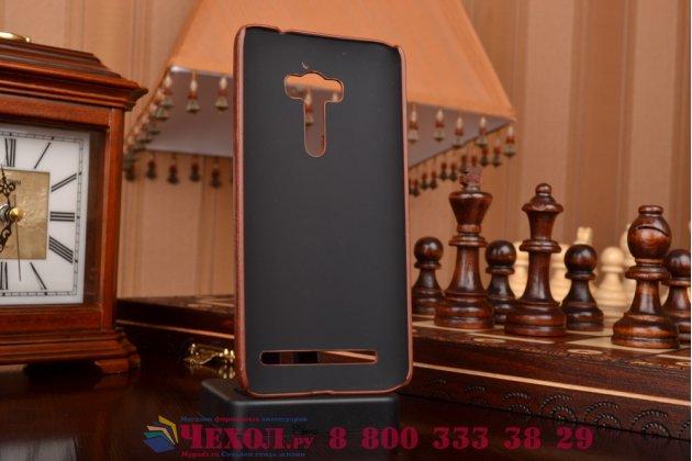 """Фирменная роскошная элитная премиальная задняя панель-крышка для ASUS Zenfone Selfie ZD551KL 5.5""""  из качественной кожи буйвола с визитницей коричневая"""