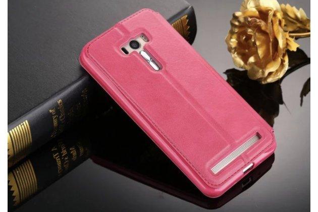"""Фирменный оригинальный чехол-кейс из импортной кожи для ASUS Zenfone Selfie ZD551KL 5.5"""" с умным окном малиновый"""