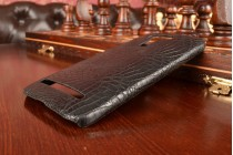 """Фирменная роскошная элитная премиальная задняя панель-крышка для ASUS Zenfone Selfie ZD551KL 5.5"""" из лаковой кожи крокодила черная"""