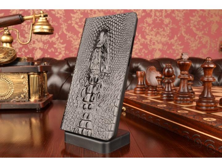 Фирменный роскошный эксклюзивный чехол с объёмным 3D изображением головы крокодила черный для ASUS Zenfone 6 A..
