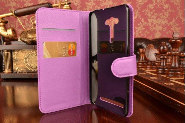"""Фирменный чехол-книжка из качественной импортной кожи с мульти-подставкой застёжкой и визитницей для Асус Зенфоне 2 Лазер ЗЕ550КЛ 5.5"""" фиолетовый"""