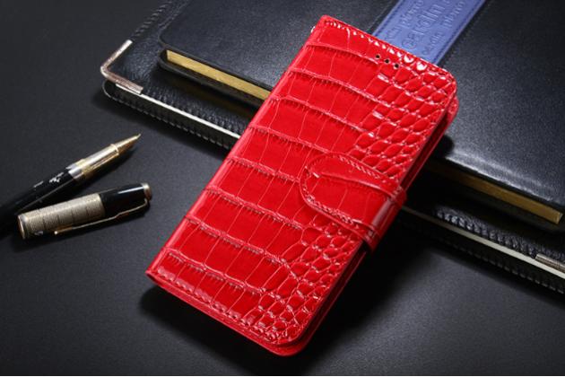 Фирменный чехол-книжка с подставкой для ASUS Zenfone 2 Lazer ZE500KL/ZE500KG лаковая кожа крокодила красный