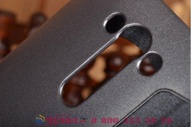 """Фирменный чехол-книжка для ASUS Zenfone 2 Lazer ZE550KL 5.5"""" черный с окошком для входящих вызовов водоотталкивающий"""