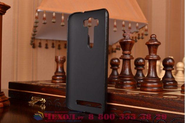 """Фирменная роскошная элитная премиальная задняя панель-крышка для ASUS Zenfone 2 Lazer ZE500KL 5.0"""" из качественной кожи буйвола с визитницей черная"""