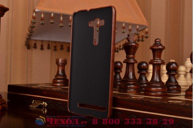 """Фирменная роскошная элитная премиальная задняя панель-крышка для ASUS Zenfone 2 Lazer ZE550KL 5.5"""" из качественной кожи буйвола с визитницей коричневая"""