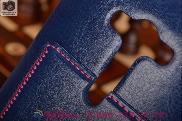 """Фирменная роскошная элитная премиальная задняя панель-крышка для ASUS Zenfone 2 Lazer ZE550KL 5.5"""" из качественной кожи буйвола с визитницей синяя"""