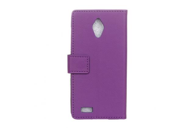 """Фирменный чехол-книжка из качественной импортной кожи с подставкой застёжкой и визитницей для Асус Зенфон Лайв Г500ТГ 5.0"""" фиолетовый"""