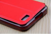 """Фирменный оригинальный чехол-книжка для ASUS ZenFone Live G500TG 5.0"""" красный с окошком для входящих вызовов водоотталкивающий"""