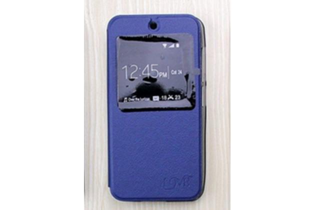 """Фирменный оригинальный чехол-книжка для ASUS ZenFone Live G500TG 5.0"""" синий с окошком для входящих вызовов водоотталкивающий"""