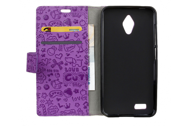 """Фирменный уникальный необычный чехол-книжка для ASUS ZenFone Live G500TG 5.0"""" """"тематика Pretty Girl"""" фиолетовый"""