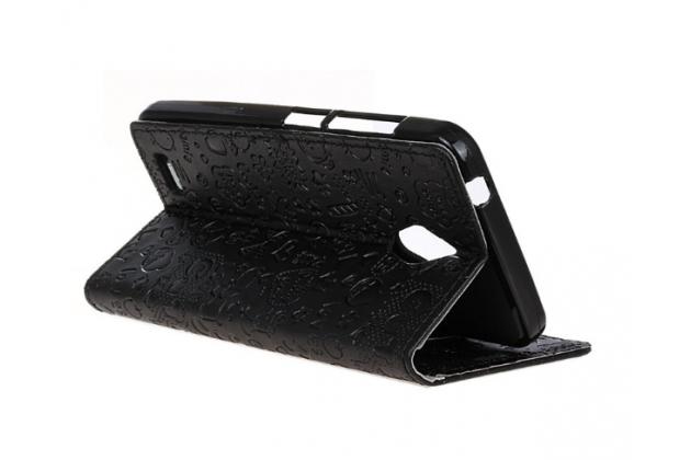 """Фирменный уникальный необычный чехол-книжка для ASUS ZenFone Live G500TG 5.0"""" """"тематика Pretty Girl"""" черный"""