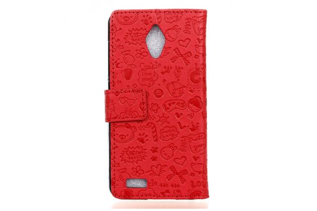 """Фирменный уникальный необычный чехол-книжка для ASUS ZenFone Live G500TG 5.0"""" """"тематика Pretty Girl"""" красный"""