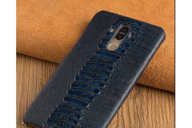 Фирменная роскошная эксклюзивная накладка из натуральной КОЖИ С НОГИ СТРАУСА синяя  для Asus ZenFone 3 Zoom ZE553KL 5.5 (Z01HDA). Только в нашем магазине. Количество ограничено