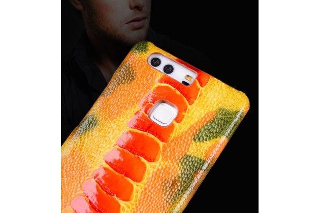 Фирменная роскошная эксклюзивная накладка из натуральной КОЖИ С НОГИ СТРАУСА оранжевая  для Asus ZenFone 3 Zoom ZE553KL 5.5 (Z01HDA). Только в нашем магазине. Количество ограничено
