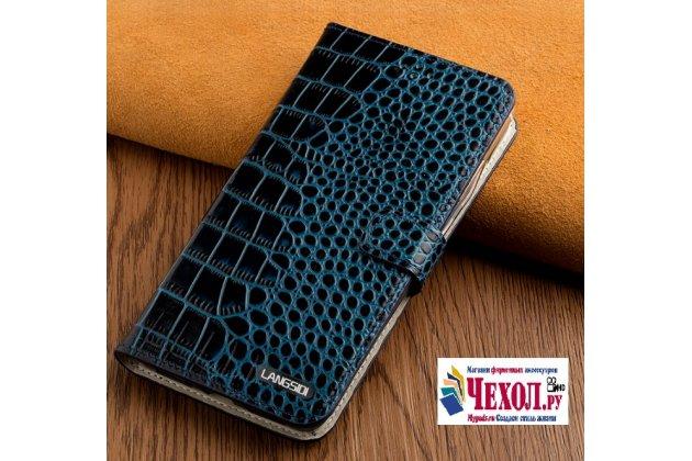 Фирменный роскошный эксклюзивный чехол с фактурной прошивкой рельефа кожи крокодила и визитницей синий для Asus ZenFone 3 Zoom ZE553KL 5.5 (Z01HDA). Только в нашем магазине. Количество ограничено