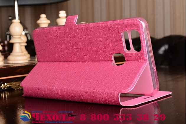 Фирменный чехол-книжка для Asus ZenFone 3 Zoom ZE553KL 5.5 розовый с окошком для входящих вызовов и свайпом водоотталкивающий