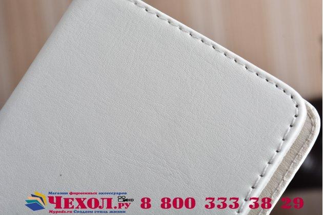 """Фирменный чехол-книжка из качественной импортной кожи с подставкой застёжкой и визитницей для Asus ZenFone 3 Zoom ZE553KL 5.5"""" белый"""