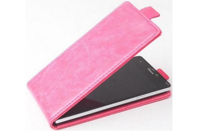 """Фирменный оригинальный вертикальный откидной чехол-флип для Asus ZenFone 3 Zoom ZE553KL 5.5"""" розовый из натуральной кожи Prestige"""