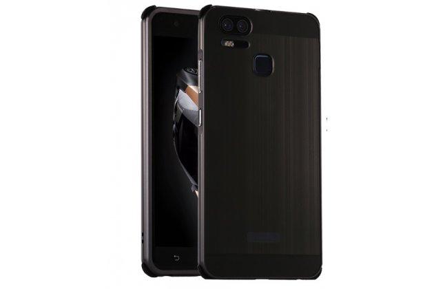 Фирменная металлическая задняя панель-крышка-накладка из тончайшего облегченного авиационного алюминия для Asus ZenFone 3 Zoom ZE553KL 5.5 (Z01HDA)  черная