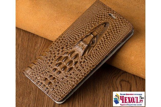 Фирменный роскошный эксклюзивный чехол с объёмным 3D изображением кожи крокодила коричневый для Asus ZenFone 3 Zoom ZE553KL 5.5 (Z01HDA) . Только в нашем магазине. Количество ограничено