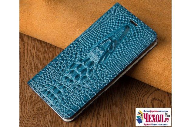 Фирменный роскошный эксклюзивный чехол с объёмным 3D изображением кожи крокодила синий для Asus ZenFone 3 Zoom ZE553KL 5.5 (Z01HDA) . Только в нашем магазине. Количество ограничено