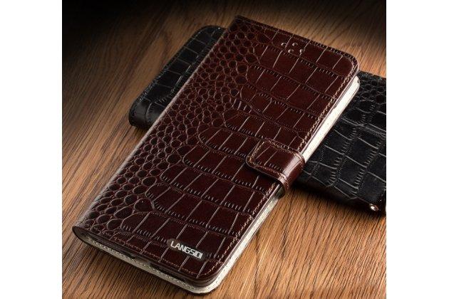Фирменный роскошный эксклюзивный чехол с фактурной прошивкой рельефа кожи крокодила и визитницей коричневый для Asus ZenFone 3 Zoom ZE553KL 5.5 (Z01HDA). Только в нашем магазине. Количество ограничено