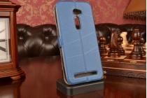 """Фирменный чехол-книжка для Asus Zenfone 2 5.0"""" ZE500CL синий с окошком для входящих вызовов водоотталкивающий"""