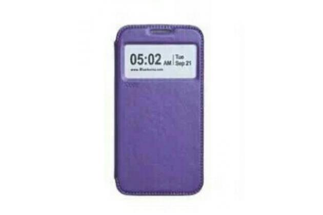 """Фирменный чехол-книжка для ASUS Zenfone 2 Lazer ZE500KL 5.0""""  фиолетовый с окошком для входящих вызовов из импортной кожи"""