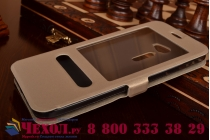 """Фирменный чехол-книжка для Asus Zenfone 2 5.0"""" ZE500CL золотой с окошком для входящих вызовов и свайпом водоотталкивающий"""