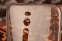 Фирменная ультра-тонкая силиконовая задняя панель-чехол-накладка для ASUS Zenfone 2 ZE550ML / ZE551ML 5.5 полупрозрачная черная