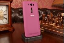 """Фирменный оригинальный чехол-книжка для ASUS Zenfone 2 Lazer ZE500KL/ZE500KG 5.0"""" фиолетовый пластиковый с окошком для входящих вызовов"""