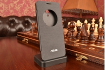 Фирменный оригинальный чехол-книжка для Asus Zenfone 5 Lite A502CG черный пластиковый с окошком для входящих вызовов
