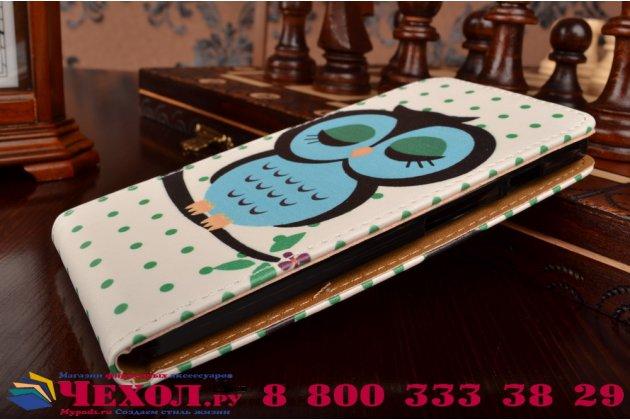 """Фирменный вертикальный откидной чехол-флип для Asus Zenfone 5 A502CG  """"тематика Сова"""""""