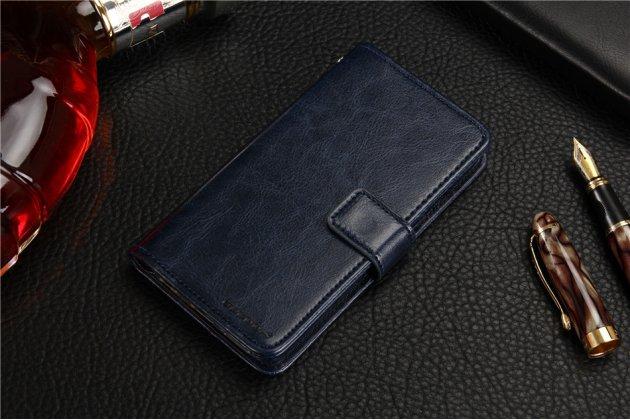"""Фирменный чехол-книжка из качественной импортной кожи с подставкой застёжкой и визитницей для ASUS ZenFone 3 Max ZC553KL 5.5"""" синий"""