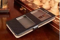 Фирменный чехол-книжка для ASUS ZenFone 3 Max ZC520TL 5.2 черный с окошком для входящих вызовов и свайпом водоотталкивающий