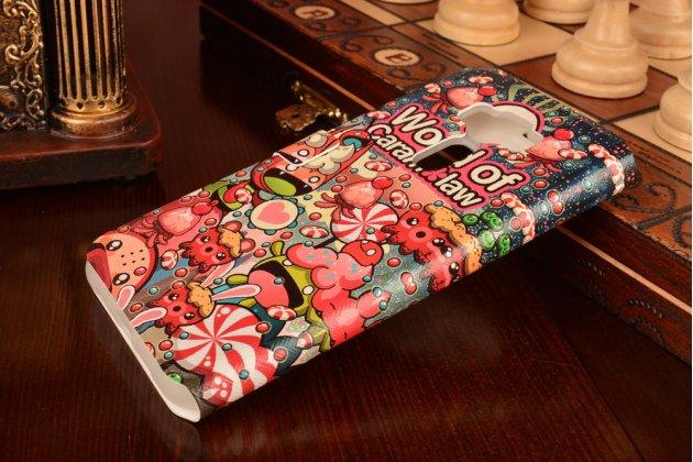 Фирменный чехол-книжка с безумно красивым расписным кислотным-мульти-рисунком на ASUS ZenFone 3 / Zenfone 3 Neo ZE520KL 5.2 с окошком для звонков