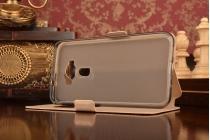 """Фирменный оригинальный чехол-книжка для ASUS ZenFone 3 / Zenfone 3 Neo ZE520KL 5.2"""" золотой с окошком для входящих вызовов и мультиподставкой водоотталкивающий"""